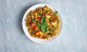 Vegetarian Paneer Biryani At Light Blue Background Stock ..
