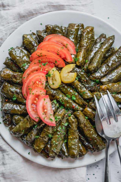 Vegetarian Stuffed Grape Leaves Recipe | LEBANESE RECIPES - recipe vegetarian grape leaves