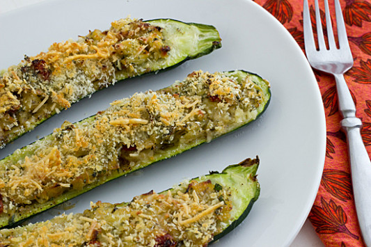 Vegetarian Stuffed Zucchini With Parmesan Panko Recipe ...