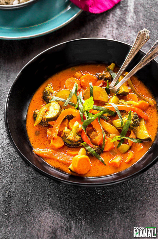 Vegetarian Thai Red Curry + VIDEO - Cook With Manali - Recipe Vegetarian Red Curry