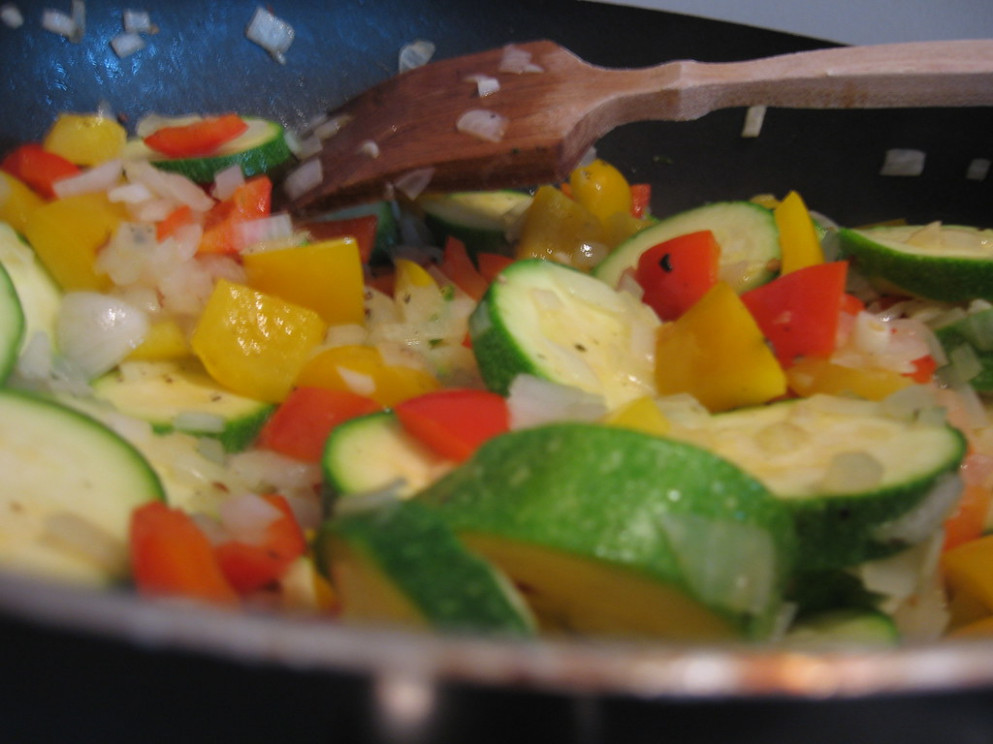 Veggies cooking for casserole - recipes casseroles vegetarian