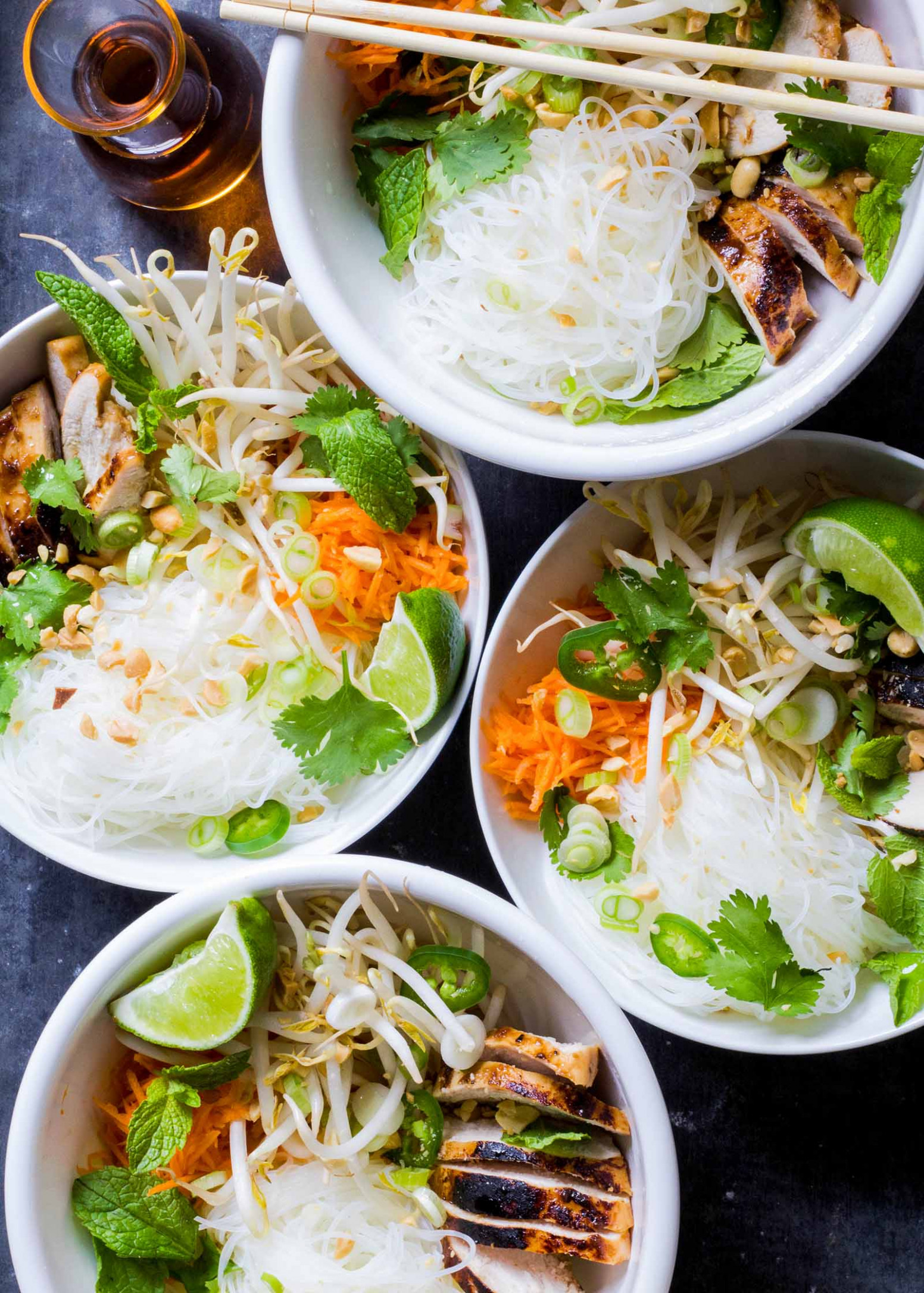 Vietnamese-Style Noodle Bowls with Chicken - vietnamese food recipes easy
