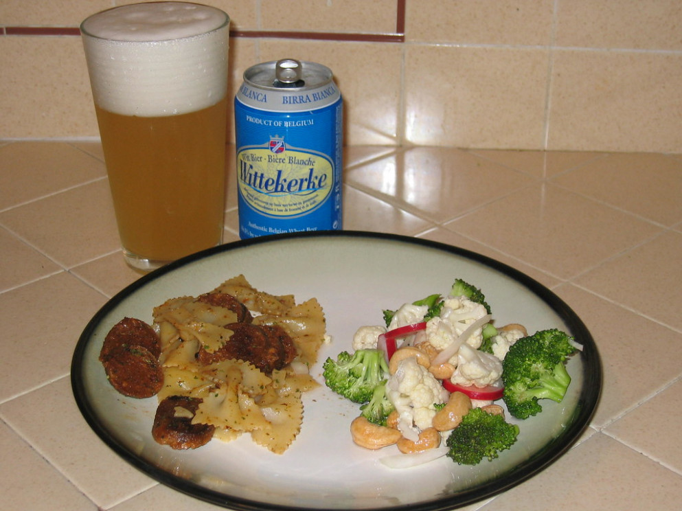 Voila-Simple and Healthy (umm, well maybe not the beer) - farfalle pasta recipes vegetarian