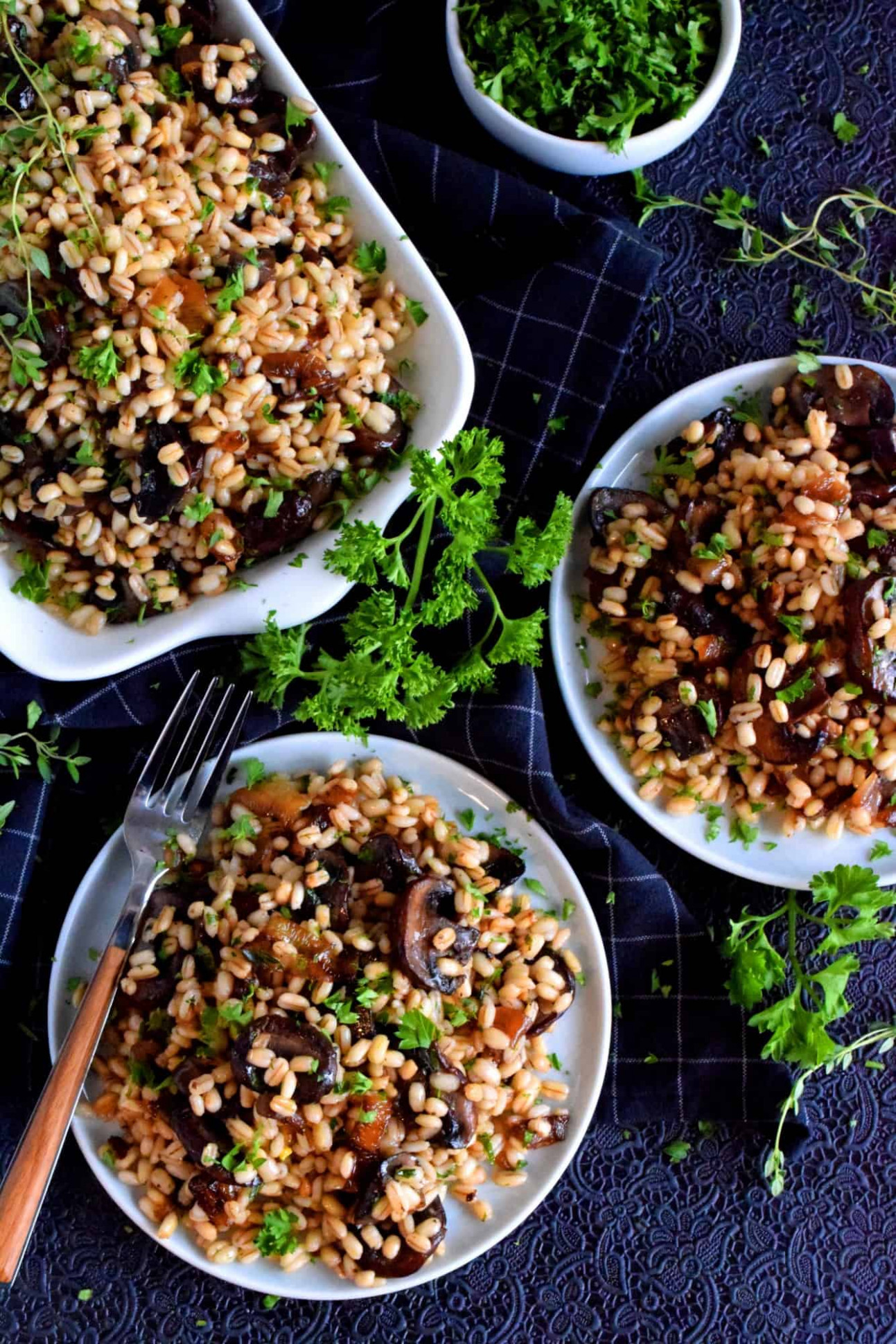 Warm Barley Salad with Buttered Mushrooms and Shallots ..