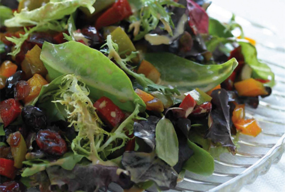 Warm Pepper and Craisin Salad - Jamie Geller - red and yellow bell pepper recipes vegetarian