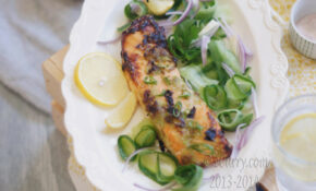 wasabi salmon with cucumber salad2