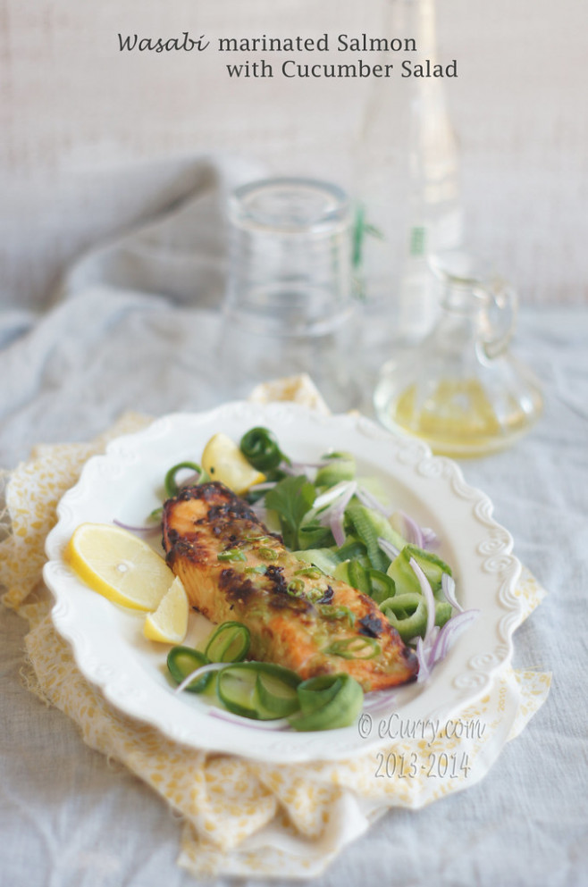 wasabi salmon with cucumber salad4 - low glycemic recipes dinner