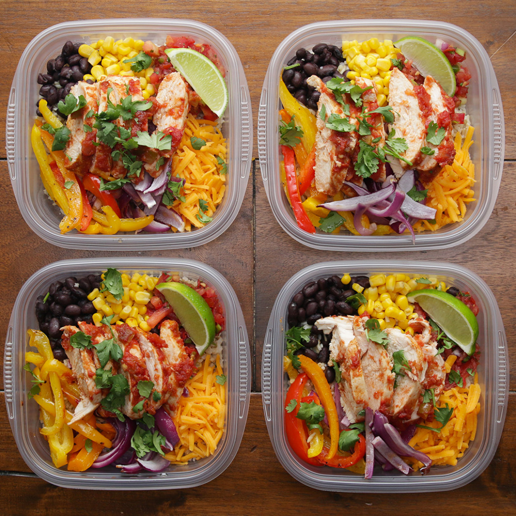 Weekday Meal Prep Chicken Burrito Bowls Recipe By Tasty - Chicken Recipes Meal Prep