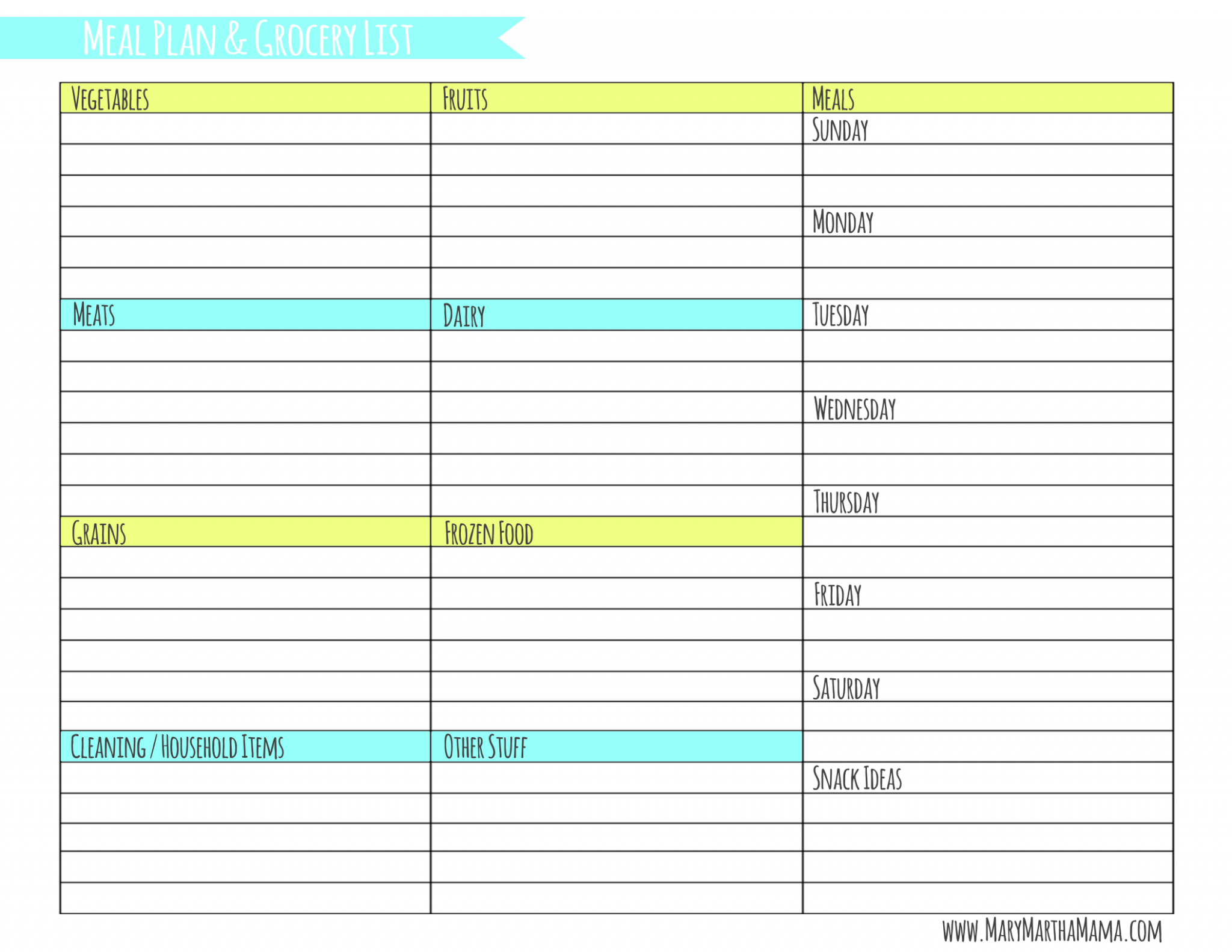 Weekly Meal Planner Template with Grocery List – Mary Martha ..