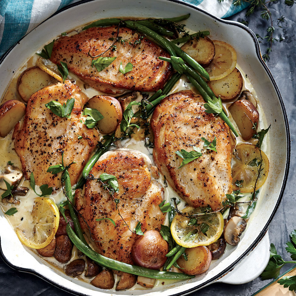 Weeknight Lemon Chicken Skillet Dinner Recipe | MyRecipes - healthy recipes using chicken breast