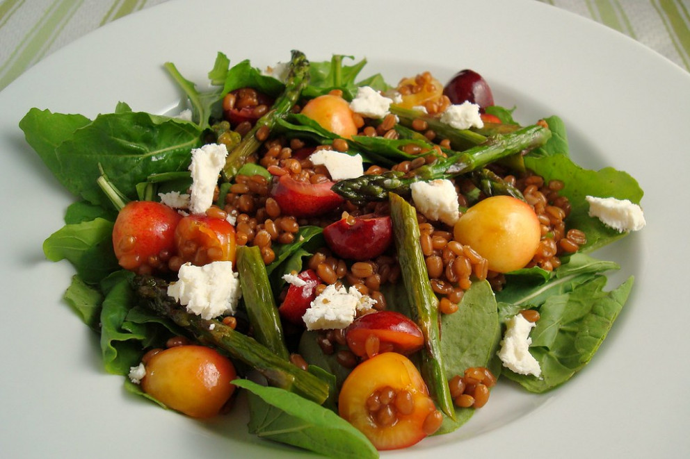 Wheatberry Salad with Cherries and Roasted Asparagus - vegetable recipes vegetarian
