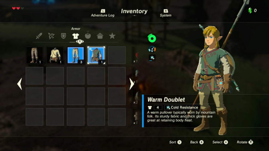 Where To Find Cold Resistance Gear In Zelda Breath Of The Wild - legend of zelda breath of the wild food recipes
