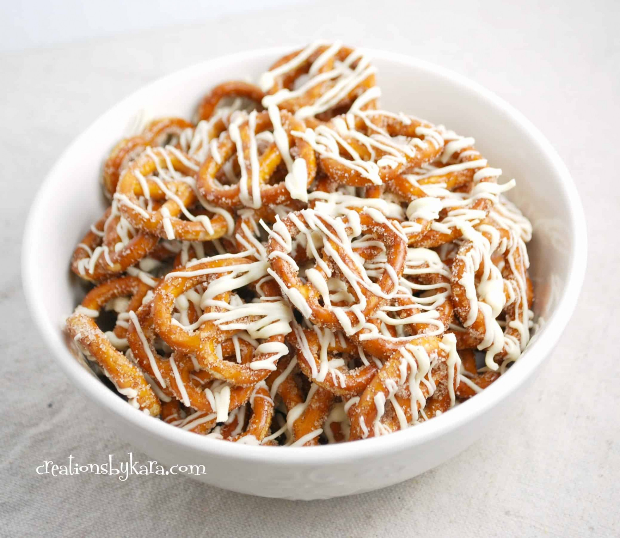 White Chocolate Cinnamon Pretzels - food recipes for breakfast