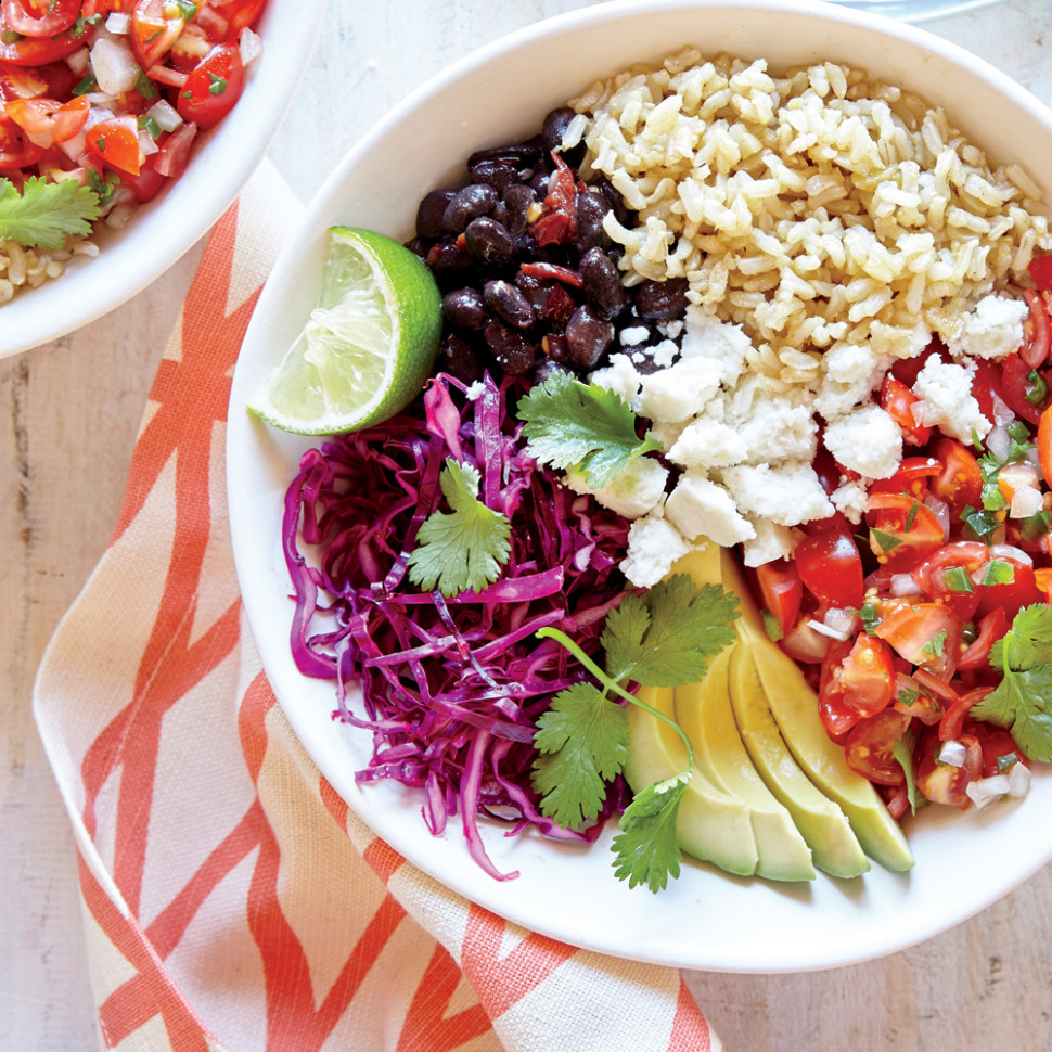 Whole-Grain Veggie Burrito Bowl Recipe | MyRecipes - rice bowl recipes vegetarian