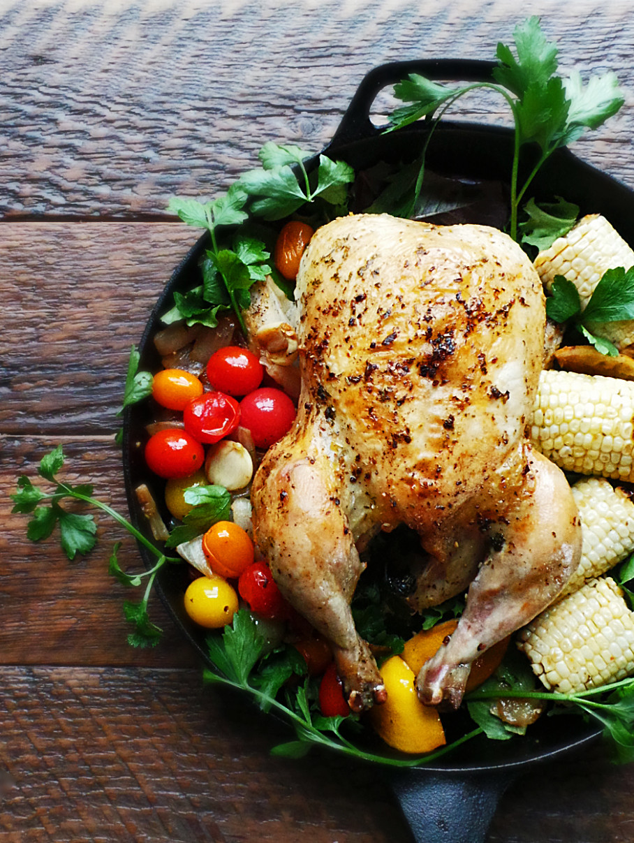 Whole Roast Summer Chicken - summer recipes chicken