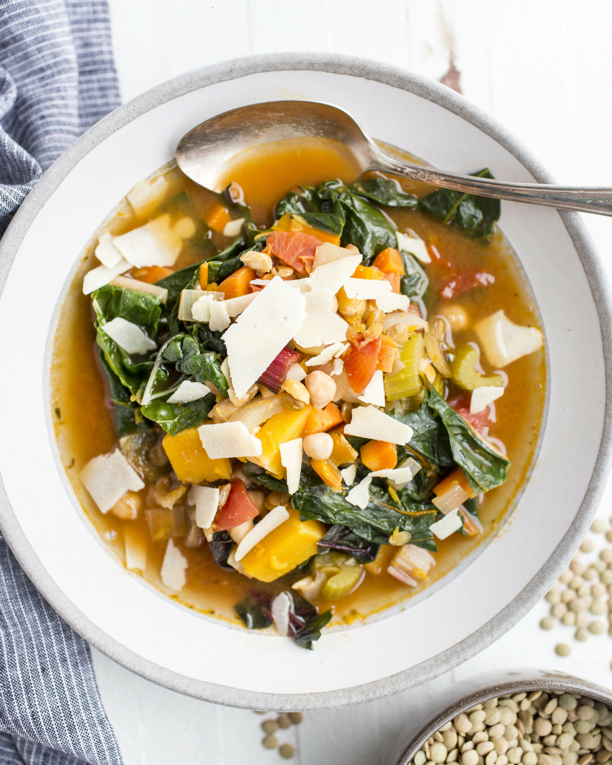 Winter Vegetable Soup with Swiss Chard, Lentils, and Chickpeas - recipes vegetarian winter
