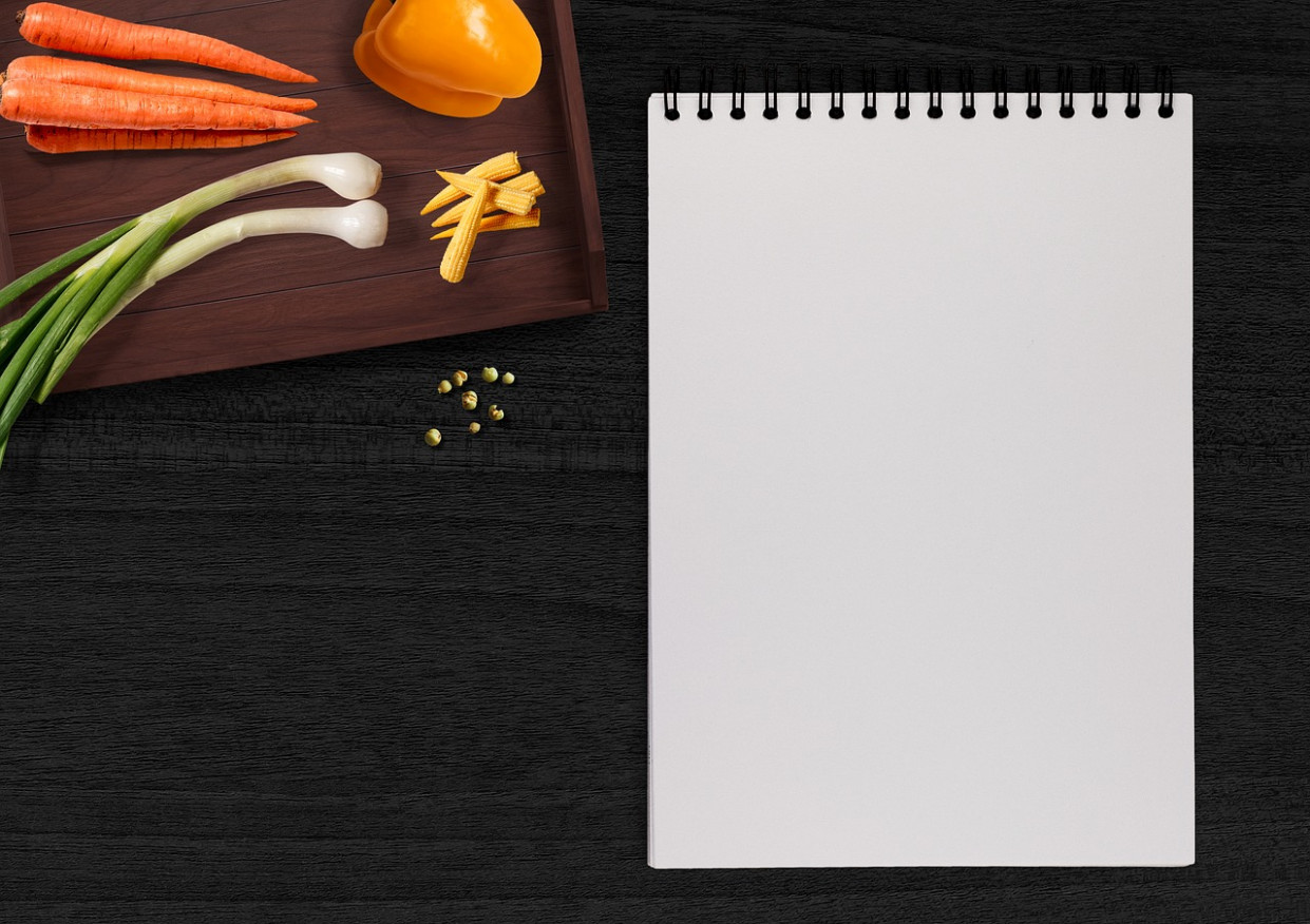 Writing Pad, Vegetables, Table, Tray - vegetarian food recipes