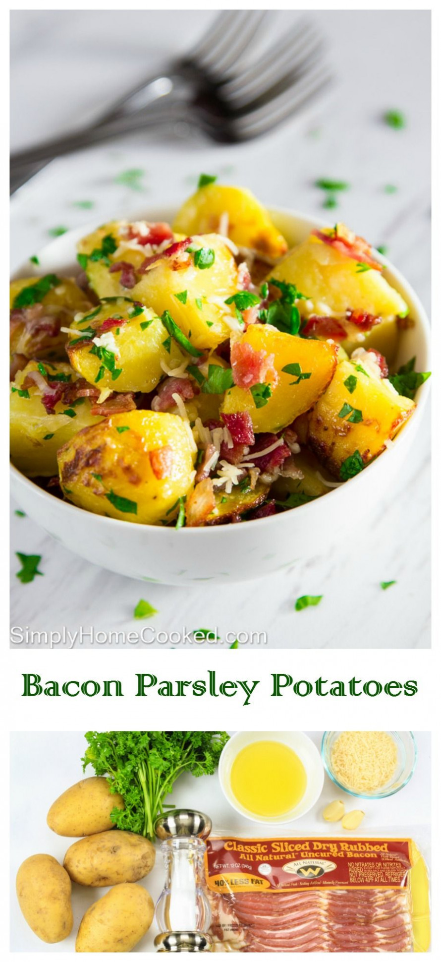Yukon gold potatoes baked with bacon, Parmesan cheese, and ..
