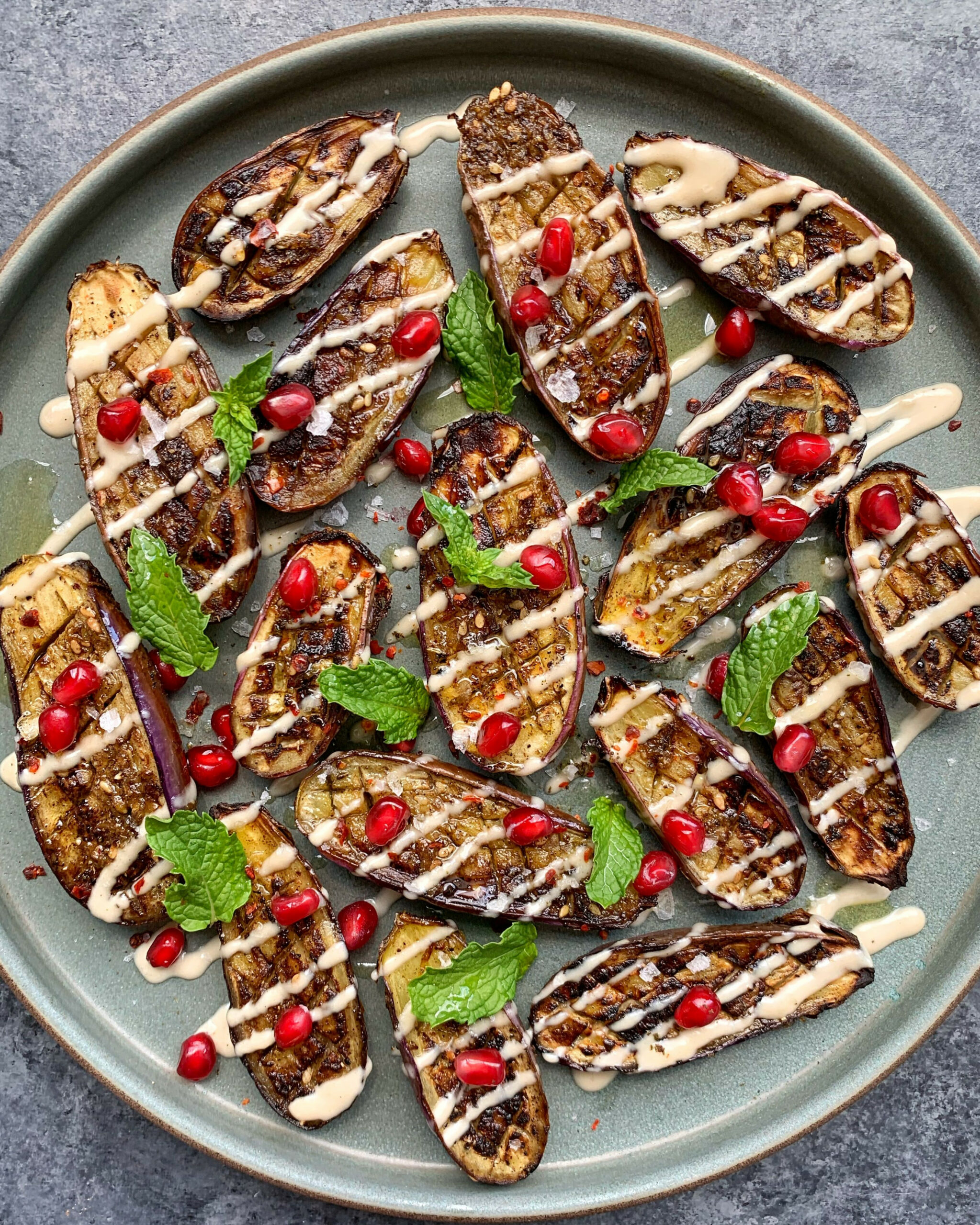 Za'atar Roasted Eggplant with Tahini and Pomegranate - food zaatar recipes
