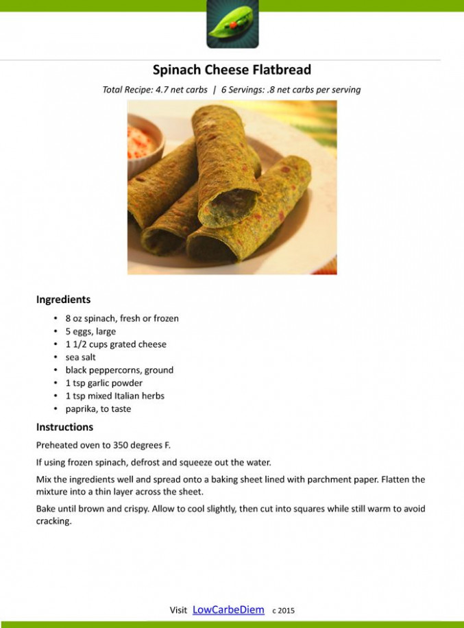 Zero-Carb-Spinach-Cheese-Flatbread-Recipe Card | Low Carb ..