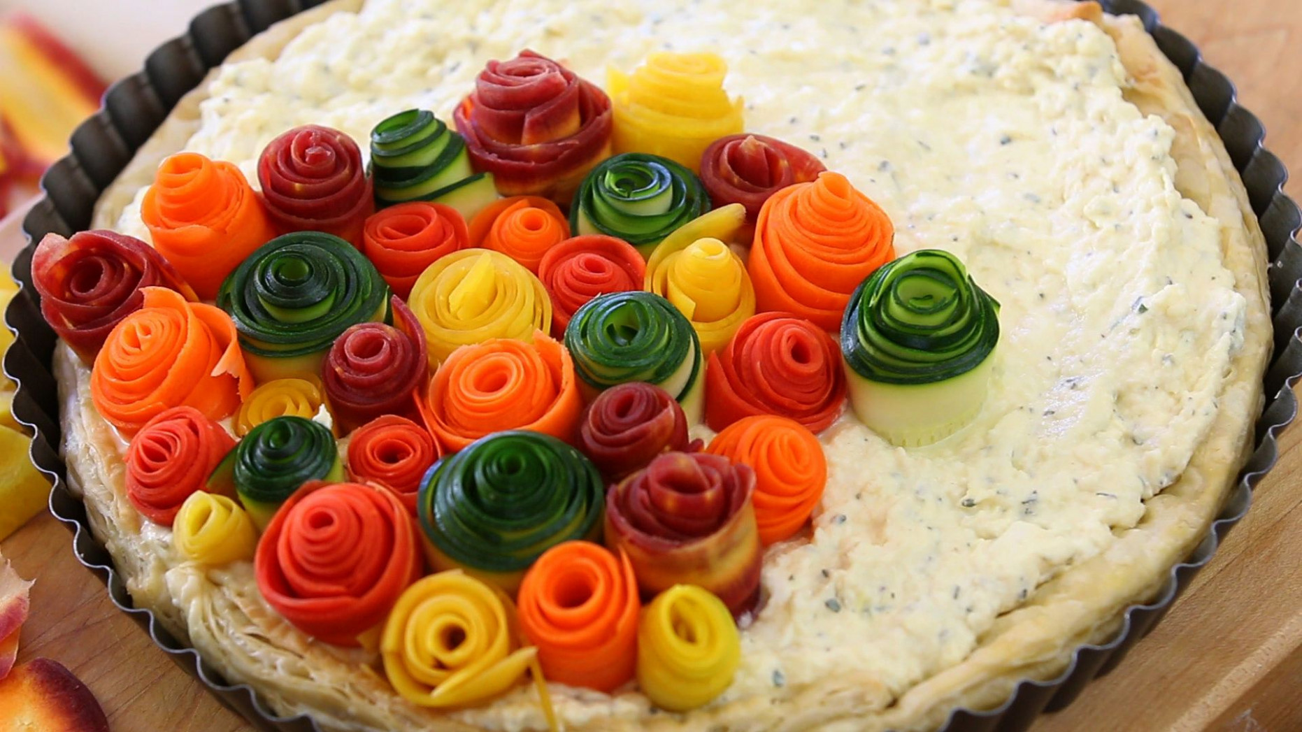 Zucchini and carrots roses tart | Buona Pappa - vegetable recipes zucchini