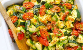 Zucchini Bake With Tomatoes, Garlic And Parmesan – IFOODreal – Healthy Dinner Recipes Zucchini
