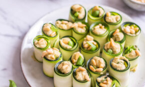 Zucchini Basil Rolls With Basil Hummus – Recipes With Basil Vegetarian