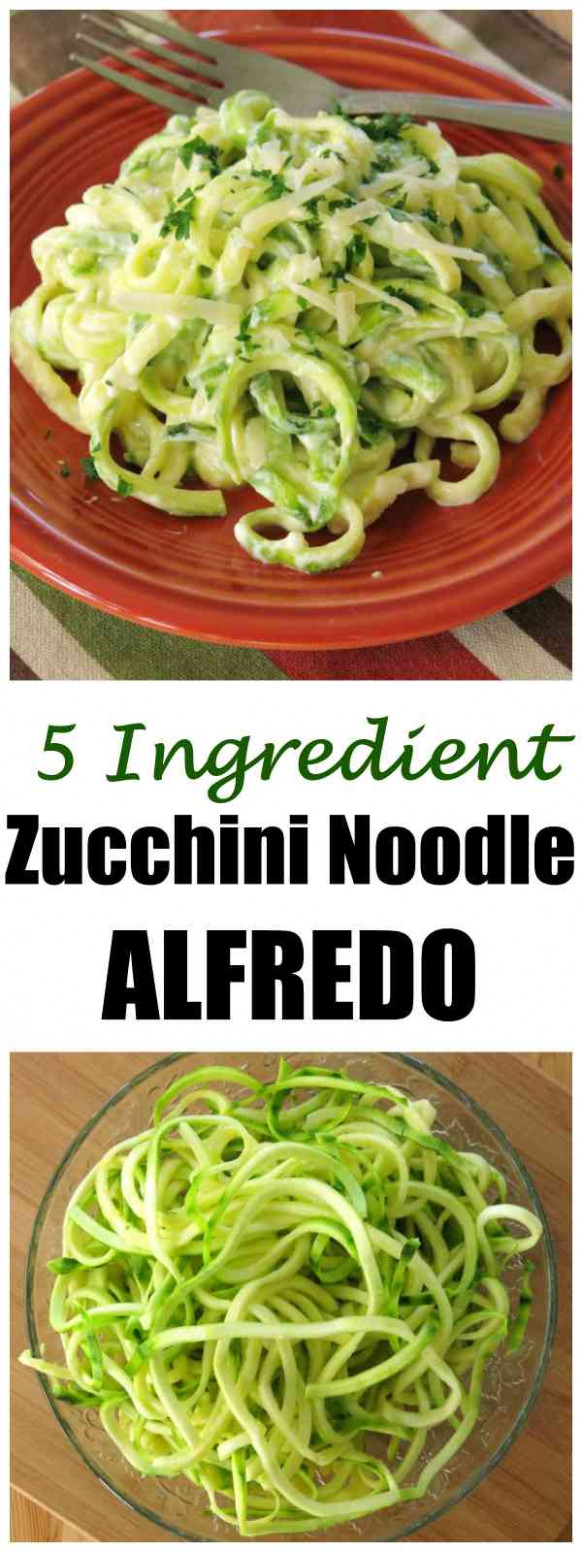 Zucchini Noodle Alfredo - Just 15 Ingredients! - The Dinner-Mom - dinner recipes with zucchini noodles
