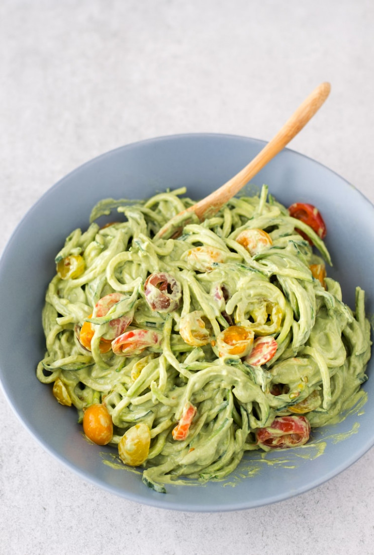 Zucchini Noodles with Avocado Sauce - Simple Vegan Blog - recipe vegetarian zucchini