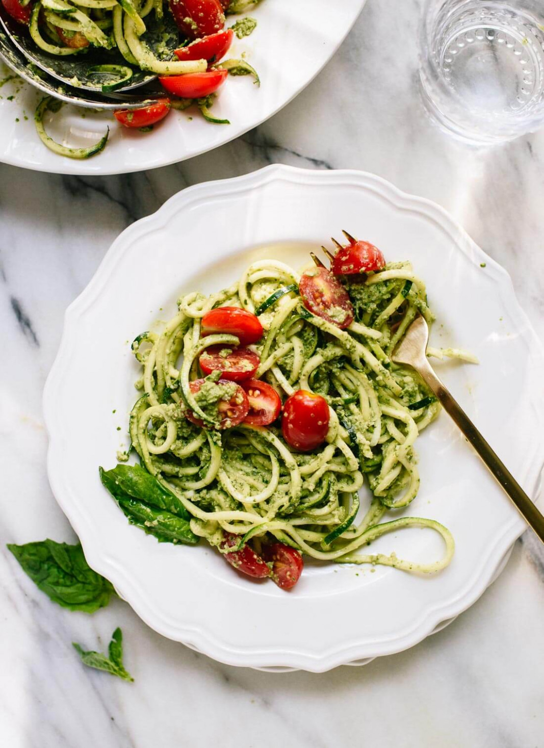Zucchini Noodles with Basil Pesto - Cookie and Kate - vegetarian recipes zucchini noodles