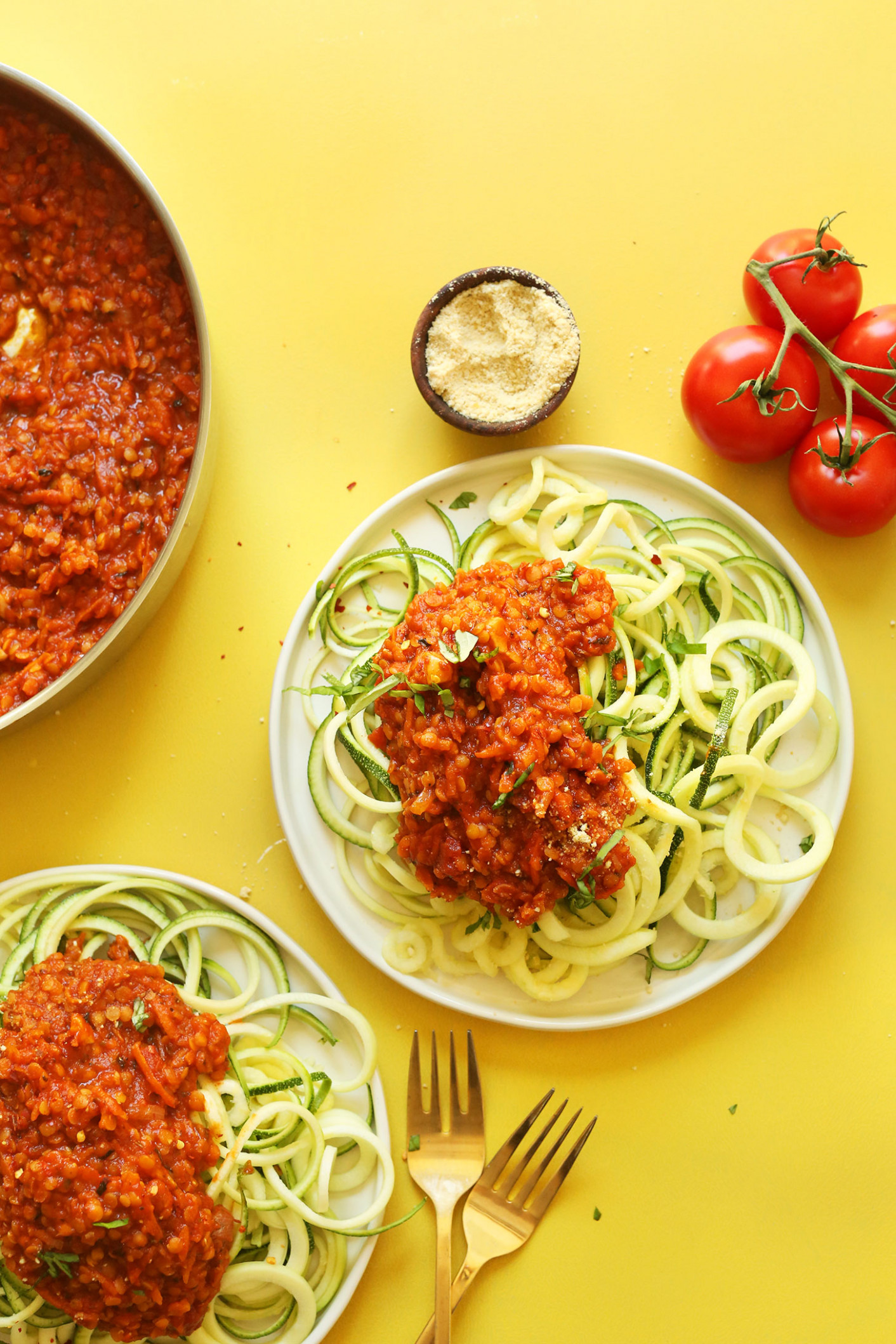 Zucchini Pasta with Lentil Bolognese - healthy zucchini noodle recipes