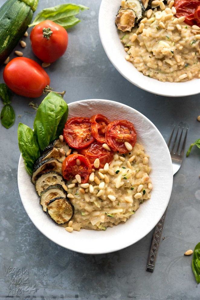Zucchini Risotto with Roasted Tomatoes - vegan recipes dinner zucchini