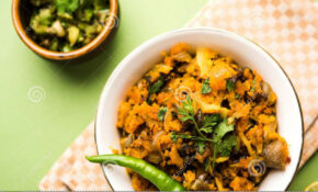 Zunka Bhakar Pithla Or Pitla, Indian Food Stock Image ...